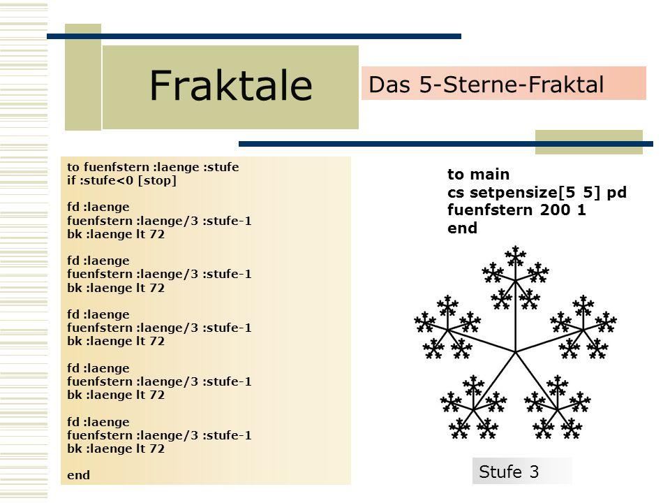 Fraktale Das 5-Sterne-Fraktal Stufe 3 to main cs setpensize[5 5] pd